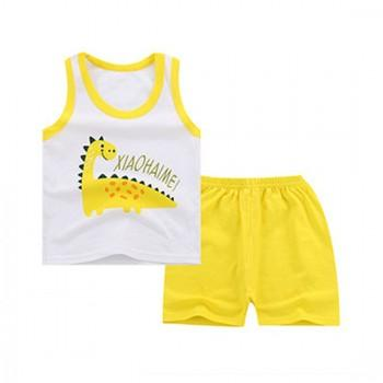 Cute Dinosaur Print Tank Top and Shorts Set for Baby Boy
