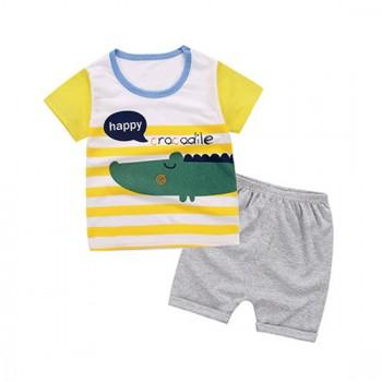 2-piece Bright Crocodile Print Short-sleeve Tee and Shorts Set for Toddler Boys