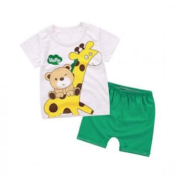 2-piece Cute Bear and Giraffe Print Short Sleeves Tee and Shorts for Baby Boy