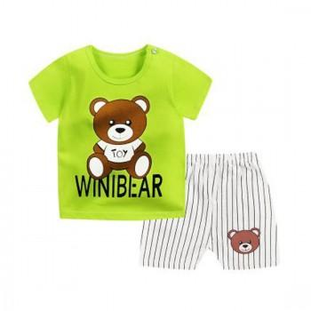 2-piece Cute Bear Letter Print T-shirt and Stripes Shorts for Baby and Toddler Boy