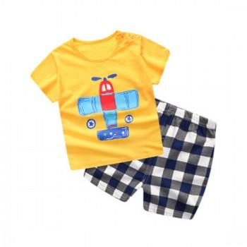 Lovely Plane Print Short-sleeve T-shirt and Plaid Shorts Set in Yellow for Baby and Toddler Boy