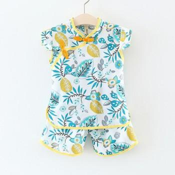 Pretty Leaf Print Chinese Cheongsam Cap-sleeve Top and Shorts Set in Blue for Baby and Toddler Girl