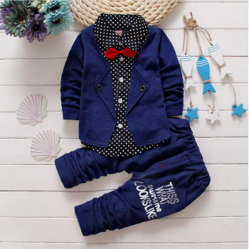 2-piece Handsome Faux-two Polka Dotted Top and Pants for Boys