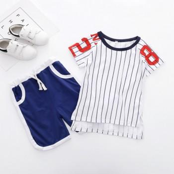 2-piece Comfy Stripes Short Sleeves Letter Sweatshirt and Shorts for Boys