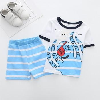 Lovely Striped Octopus Print Short-sleeve T-shirt and Shorts Set for Toddler Boy and Boy