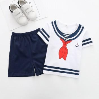 2-piece Handsome Navy Print T-shirt and Shorts Set for Boys