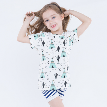 Adorable Cactus and Tent Print Short-sleeve Tee for Girls