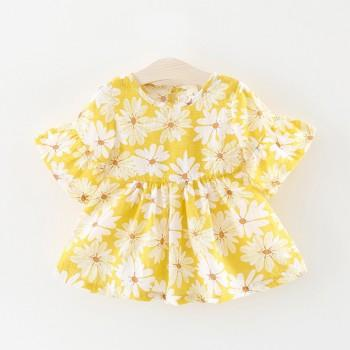 Pretty Flare Sleeves Daisy Pattern Dress for Toddler Girl