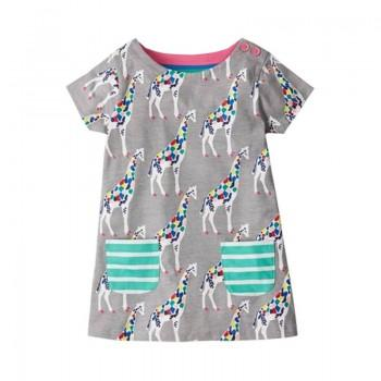 Colorful Giraffe Pattern Short Sleeves Dress for Toddler Girl and Girl