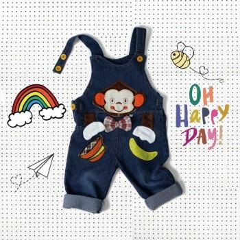 Snappy Appliqued Monkey Suspender Jeans for Baby and Toddler