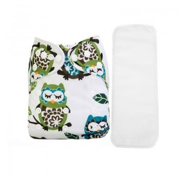2-piece Baby's Adjustable Washable Owl Pattern White Cloth Diaper with Insert