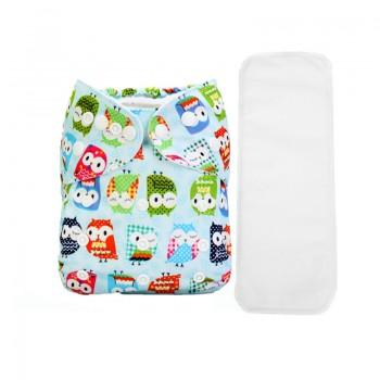 2-piece Baby's Adjustable Washable Owl Pattern Unisex Cloth Diaper with Insert