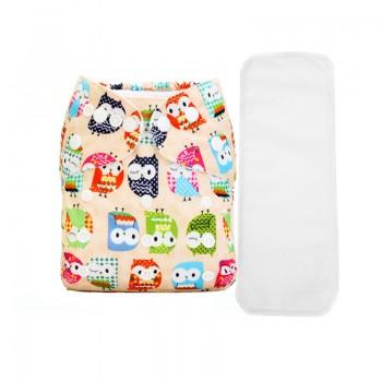 2-piece Baby's Adjustable Washable Owl Print Cloth Diaper with Insert