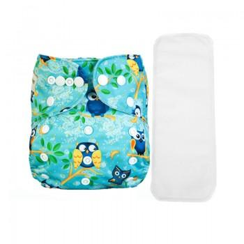 2-piece Baby's Adjustable Washable Owl Print Green Cloth Diaper with Insert