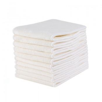 10-pack Reusable Washable 4 Layers Bamboo Cloth Diaper Inserts in White