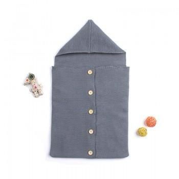 Comfy Solid Hooded Knit Sleeping Bag for Newborn