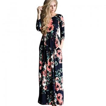 Pretty Floral Long-sleeve Maxi Dress for Women