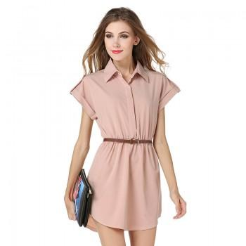 Pretty Solid Belted Short-sleeve Shirt Dress in Khaki for Women