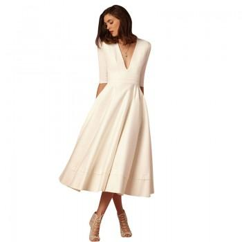 Elegant V-neck Solid Long-sleeve Dress in White for Women
