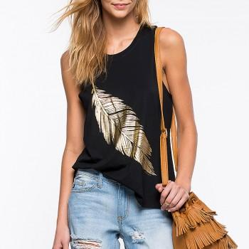 Women's Cool Gold Feather Print Tank Top