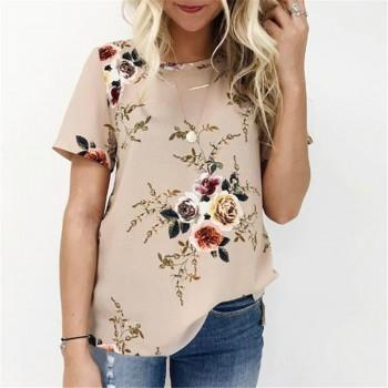 Chic Floral Short-sleeve Tee for Women