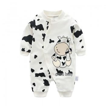 Cute Cow Print Long-sleeve Jumpsuit for Baby