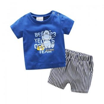 2-piece Cute Hippo Print Top and Striped Shorts Set for Baby Boy