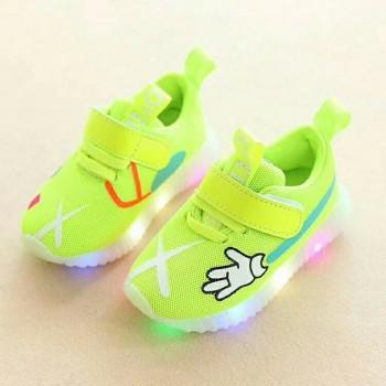 Breathable Printed LED Sports Shoes for Toddler Boy