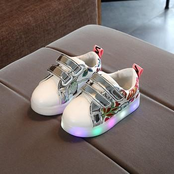 Toddler's Flower Embroidered LED Sneakers