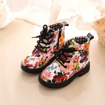 Pretty Floral Lace-up Zipper Martin Boots for Toddler Girl