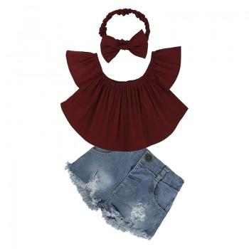 Stylish Solid Off-shoulder Short-sleeve Top, Frayed Denim Shorts and Headband Set for Toddler Girl and Girl