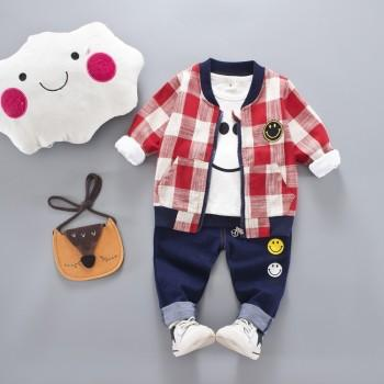3-piece Smiling Face Tee Plaid Coat and Pants Set for Baby and Toddler Boys