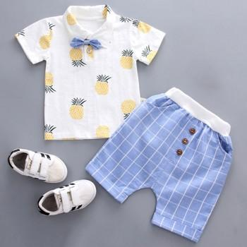 2-piece Cute Pineapple Pattern Shirt and Plaid PP Pants for Baby and Toddler Boy