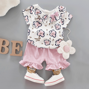 2-piece Floral Top and Ruffle-cuff Shorts Set for Baby and Toddler Girl