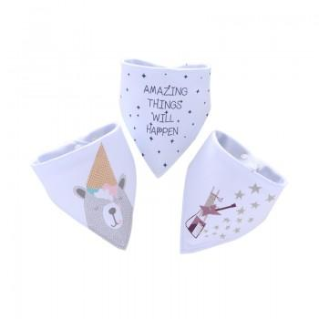 3-pack Lovely Bear and Star Print Cotton Bibs