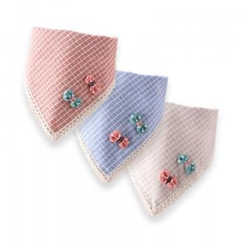 3-pack Sweet Bow Decor Plaid Bib Set for Baby