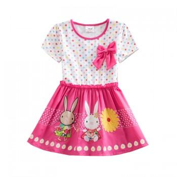 Pretty Rabbit Print Polka Dotted Short Sleeves Dress for Girls