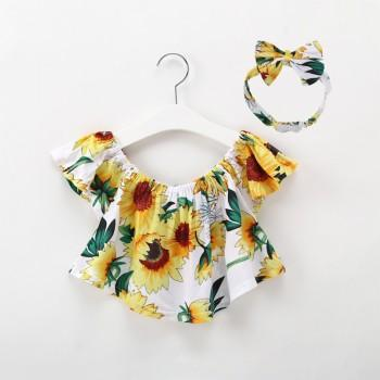 Pretty Sunflower Patterned Top and Headscarf Set for Toddler Girl