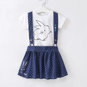 Cute Short-sleeve Tee and Dotted Embroidered Rabbit Suspender Skirt set for Toddler Girl and Girl