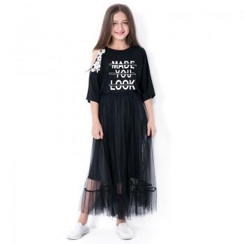 2-piece Girl's Letter Print Open-shoulder Tee and Tulle Skirt Set