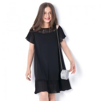 Girl's Hollow Out Open-shoulder Short-sleeve Dress in Black