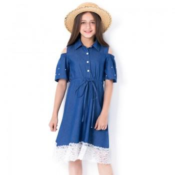 Girl's Pretty Lace Hem Open-shoulder Denim Dress in Blue