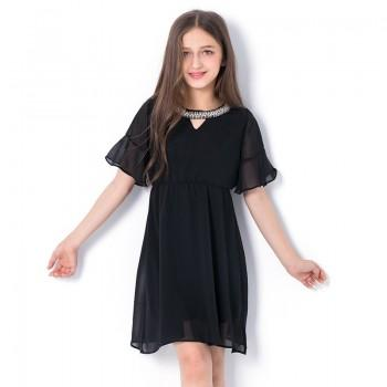 Elegant Short-sleeve Chiffon Dress for Girls