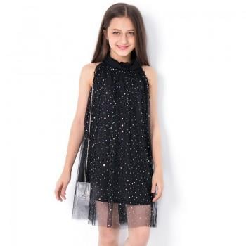 Chic Sequined Sleeveless Mesh Dress for Girl