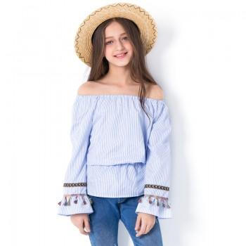 Girl's Trendy Striped Tassel Flare-sleeve Off Shoulder Top