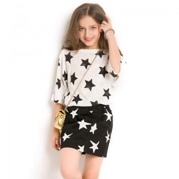 Fashionable Star Print Short-sleeve Tee and Skirt Set for Girls