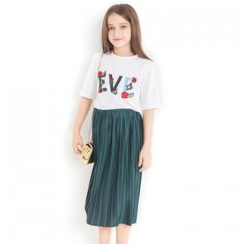 2-piece Trendy Letter Print Top and Pleated Skirt Set for Girls