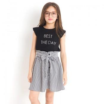 2-piece Trendy Letter Print Tank and Striped Skirt Set for Girls