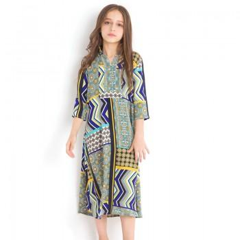 Ethnic Patterned Stand Collar 3/4 Sleeve Dress in Yellow for Girl