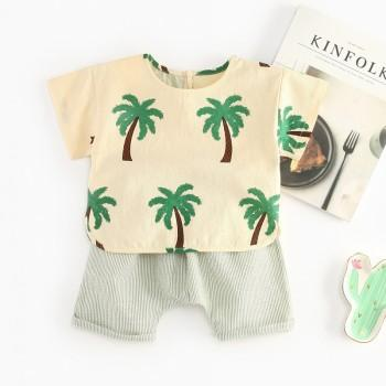 2-piece Coconut Palm Patterned Short-sleeve Tee and Shorts for Baby and Toddler